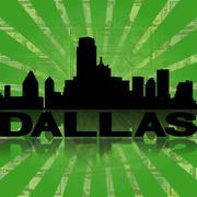 Dallas skyline reflected with green dollars sunburst illustration Piirros