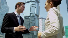 Multi Ethnic Business Team Outside Modern City Buildings Stock Footage