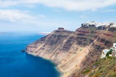Santorini island  and aegan sea Stock Photos