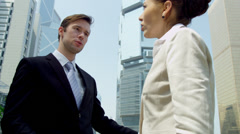 Multi Ethnic Business People Meeting Clients Downtown Stock Footage
