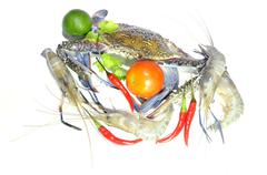 Blue crab and giant freshwater lobster isolated on white background - stock photo