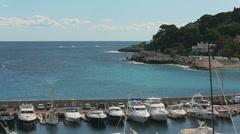 France, Cap-Dail, 24 may 2013: Port Cap-Dail, embankment, many boats, sunny day Stock Footage