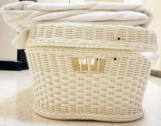 white towel on basket - stock photo