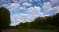 landscape  with clouds, blue sky and forest.  Time lapse.  4K ( 4096x2304) 4k or 4k+ Resolution
