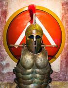 Spartan helmet, armor and shield Stock Photos