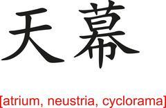 Stock Illustration of Chinese Sign for atrium, neustria, cyclorama