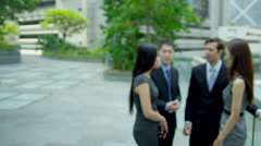 Close Up Asian Chinese Business Manager Colleagues Background Stock Footage