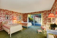 Bright old fashion bedroom interior in contrast colors Stock Photos