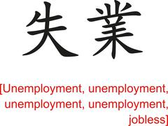 Chinese Sign for Unemployment,  jobless - stock illustration