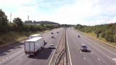 Aerial view UK traffic, M6 Motorway free flowing motorway traffic Stock Footage