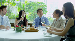 Multi Ethnic Corporate Executives Restaurant Meeting - stock footage