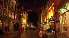Famous Gerrard Street in London Chinatown Stock Footage