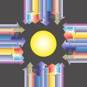 colorful arrow direct forward center - stock illustration
