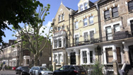 Stock Video Footage of British brick mansions in exclusive area near London Kensington on a sunny day