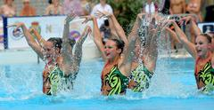 USA synchro swimmers team - stock photo