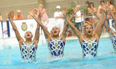 Japan synchro swimmers team - stock photo