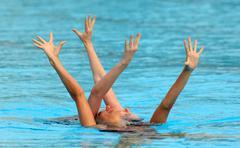 British synchro swimmers Jenna Randall and Olivia Allison - stock photo