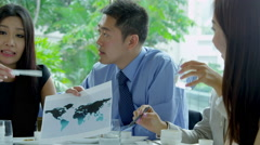 Male Female Ethnic Business People Video Uplink Working Lunch Stock Footage