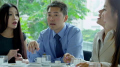 Successful Lunch Meeting Multi Ethnic Business People Stock Footage