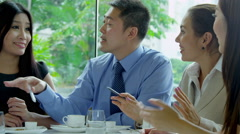 Asian Chinese Corporate Executives Restaurant Meeting - stock footage