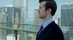 Portrait Male Caucasian Business Advisor City Rooftop Stock Footage