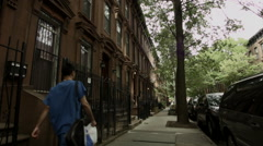 Man in Park Slope. Pedestrian in Park Slope, Brooklyn. Stock Footage