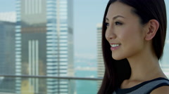 Young Ethnic Businesswoman City Rooftop Portrait Stock Footage