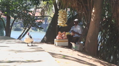KANDY, SRI LANKA - FEBRUARY 2014: Man selling popcorn on the street by the lake. Stock Footage