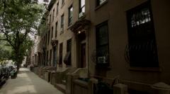 Park Slope Brownstone. Beautiful brownstones in historic Park Slope. Stock Footage