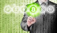Stock Illustration of Choosing bitcoins, businessman pressing touch screen button.