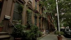 Park Slope Brooklyn's Beautiful Brownstones.  Stock Footage