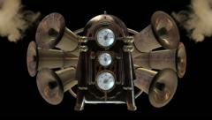 3D JUKEBOX with HORNS and GAUGES. ALPHA MATTE - stock footage
