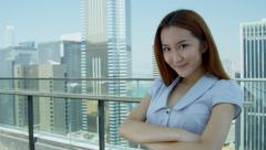 Close Up Female Asian Chinese Finance Consultant Outdoors - stock footage