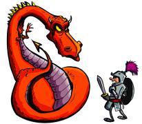 Cartoon of a knight facing a fierce dragon Stock Illustration