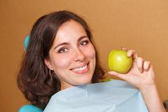 Girl on examination at the dentist Stock Photos