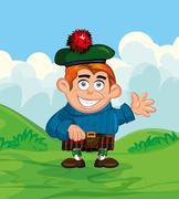 cute cartoon of scotsman - stock illustration