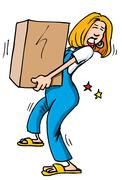 cartoon of woman picking up a heavy box - stock illustration