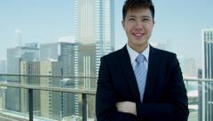 Portrait Male Asian Chinese Business Advisor City Rooftop Stock Footage