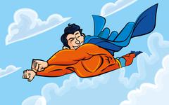 cartoon superman flying with his cape behind - stock illustration