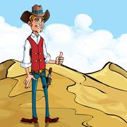 Cartoon cowboy giving a thumbs up gesture Stock Illustration