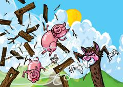 Cartoon of three pigs Stock Illustration