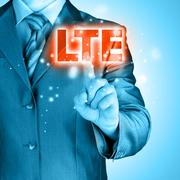 Businessman is pushing his finger on lte button Stock Illustration