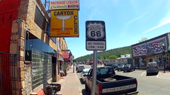 Historic Route 66 Sign In Downtown Williams Arizona Stock Footage