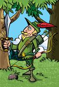 Cartoon robin hood in the woods Stock Illustration