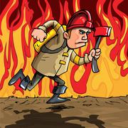 Stock Illustration of cartoon fireman running with an axe