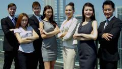 Portrait Confident Team Multi Ethnic Corporate Business People - stock footage