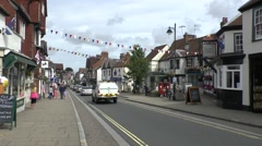 General street view (with audio) of High Street, Lyndhurst, Hampshire, England. Stock Footage