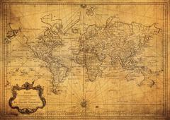 Vintage map of the world 1778 Kuvituskuvat