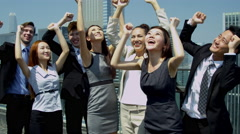 Cheering Team Financial Consultants Celebrating Success Stock Footage