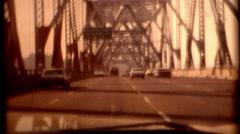 Film 1970s Bay Bridge San Francisco Treasure Island vintage historic travelling  Stock Footage